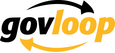 Yellow and black logo: 'govloop' between two arrows going in a circular (or oval) direction