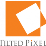 Orange and White Tilted Pixel Logo
