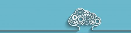 A white cloud outline with gears on an aqua/turquoise background, banner at the top of InnoScale Hosting's Cloud page
