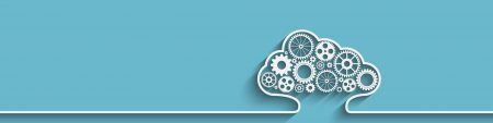 A white cloud outline with white gears on an aqua/turquoise background, banner at the top of InnoScale Hosting's Cloud page